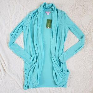 Lilly Pulitzer Nika Sweater Wrap Shorely Blue sz S